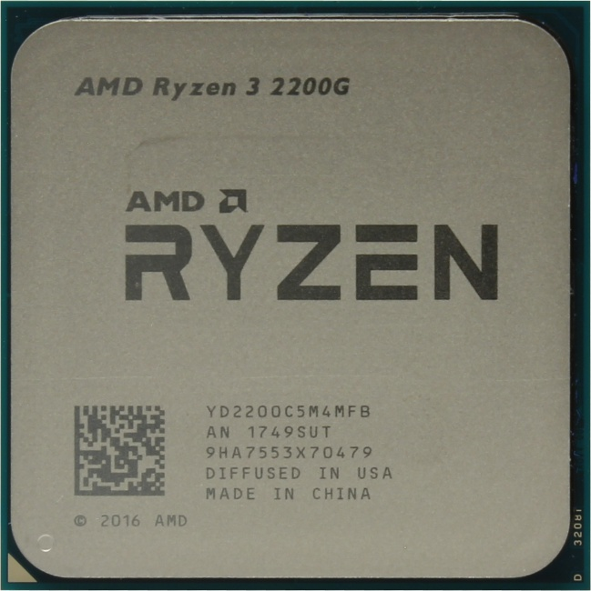 AMD Ryzen 3 2200G, вид сверху