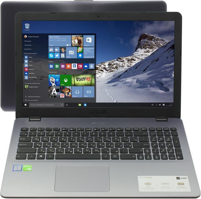 ASUS VivoBook X542UN, вид раскрытого ноутбука