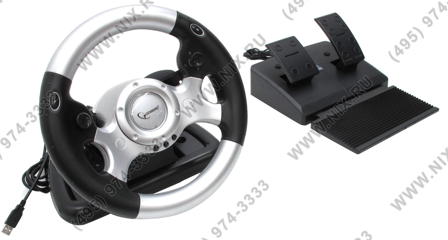 Драйвер на Руль Gembird Force Feedback STR-FFB2 USB (Рулевое колесо+педали+рычаг перекл.скор, 2x4поз.перекл.,9кн.)