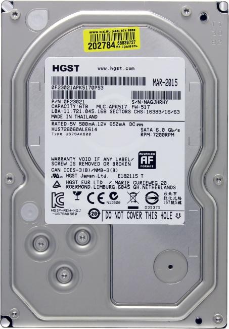 HGST Ultrastar 7K6000 HUS726060ALE614, вид сверху