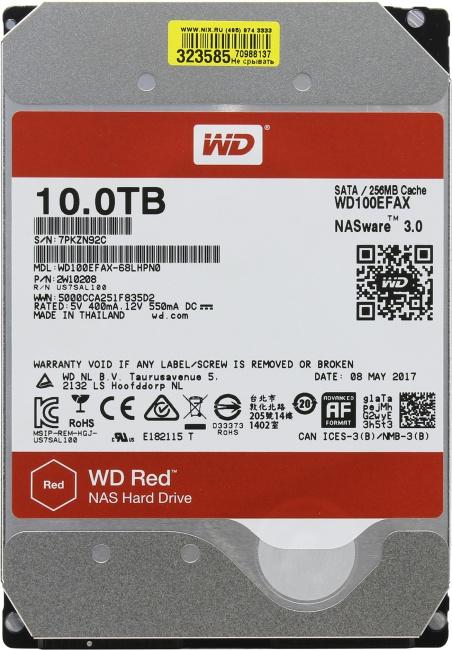 Western Digital Red WD100EFAX, вид сверху