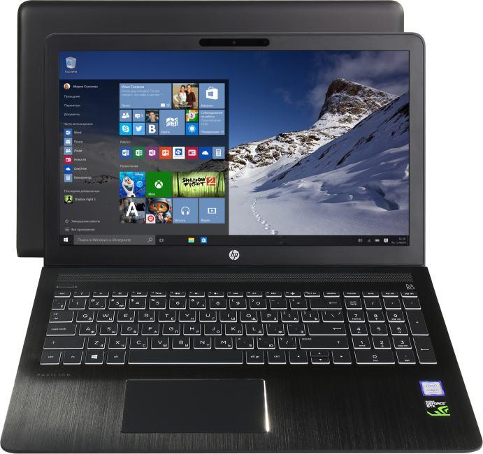 HP Pavilion Power 15-cb009ur, вид раскрытого ноутбука