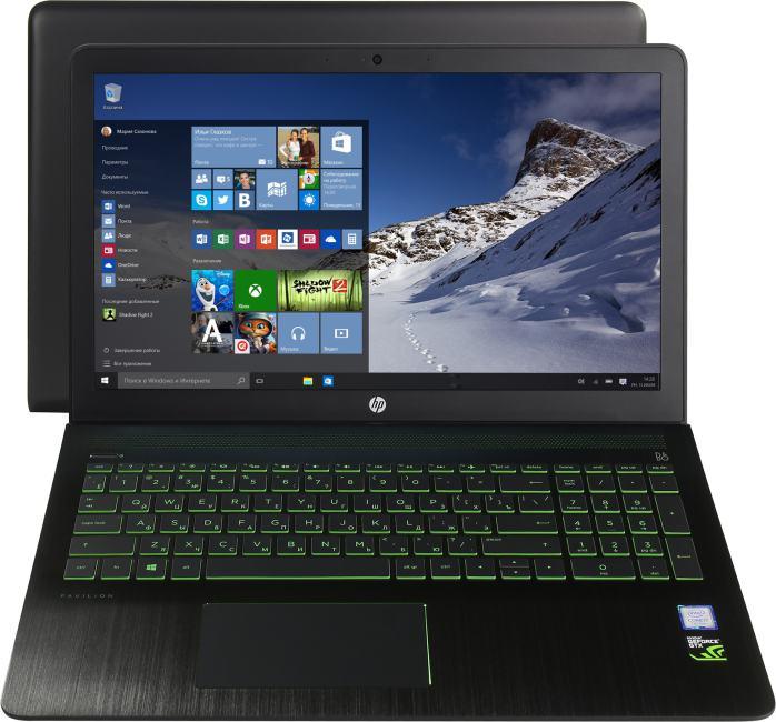 HP Pavilion Power 15-cb016ur, вид раскрытого ноутбука