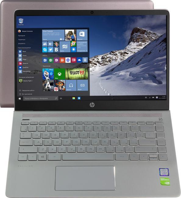 HP Pavilion 14-bf104ur, вид раскрытого ноутбука