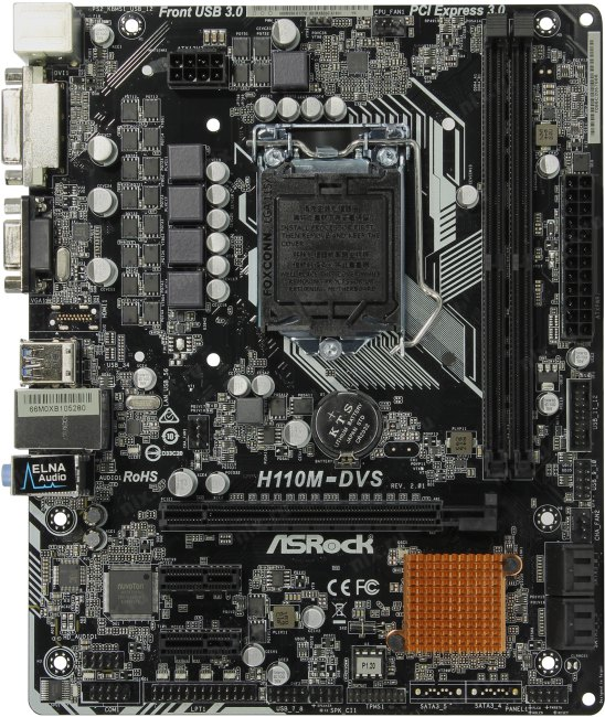 ASRock H110M-DVS R2.0, вид сверху