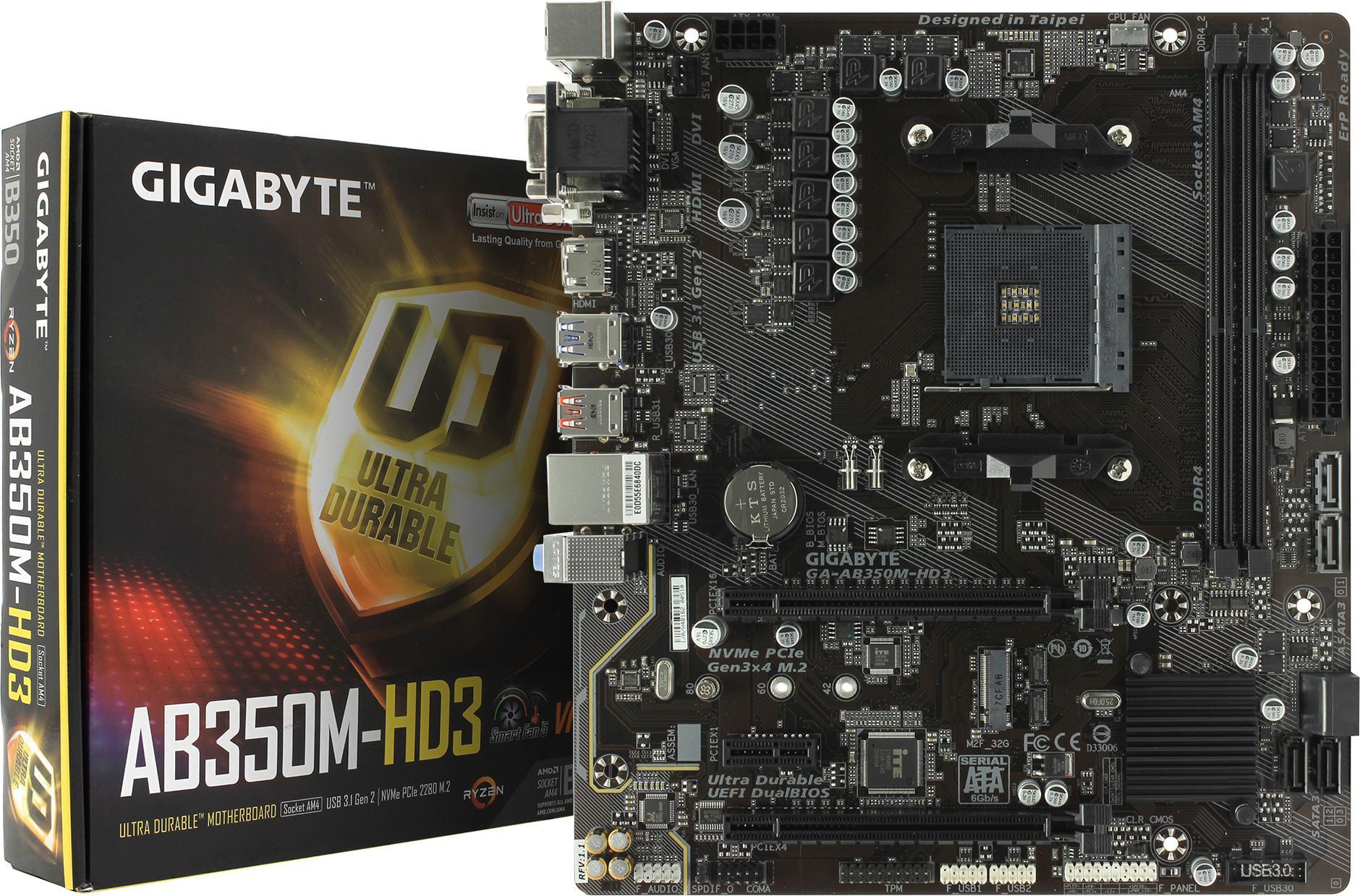 Материнская пРата GIGABYTE GA AB350M HD3 rev1 1 — купить цена и характеристики отзывы