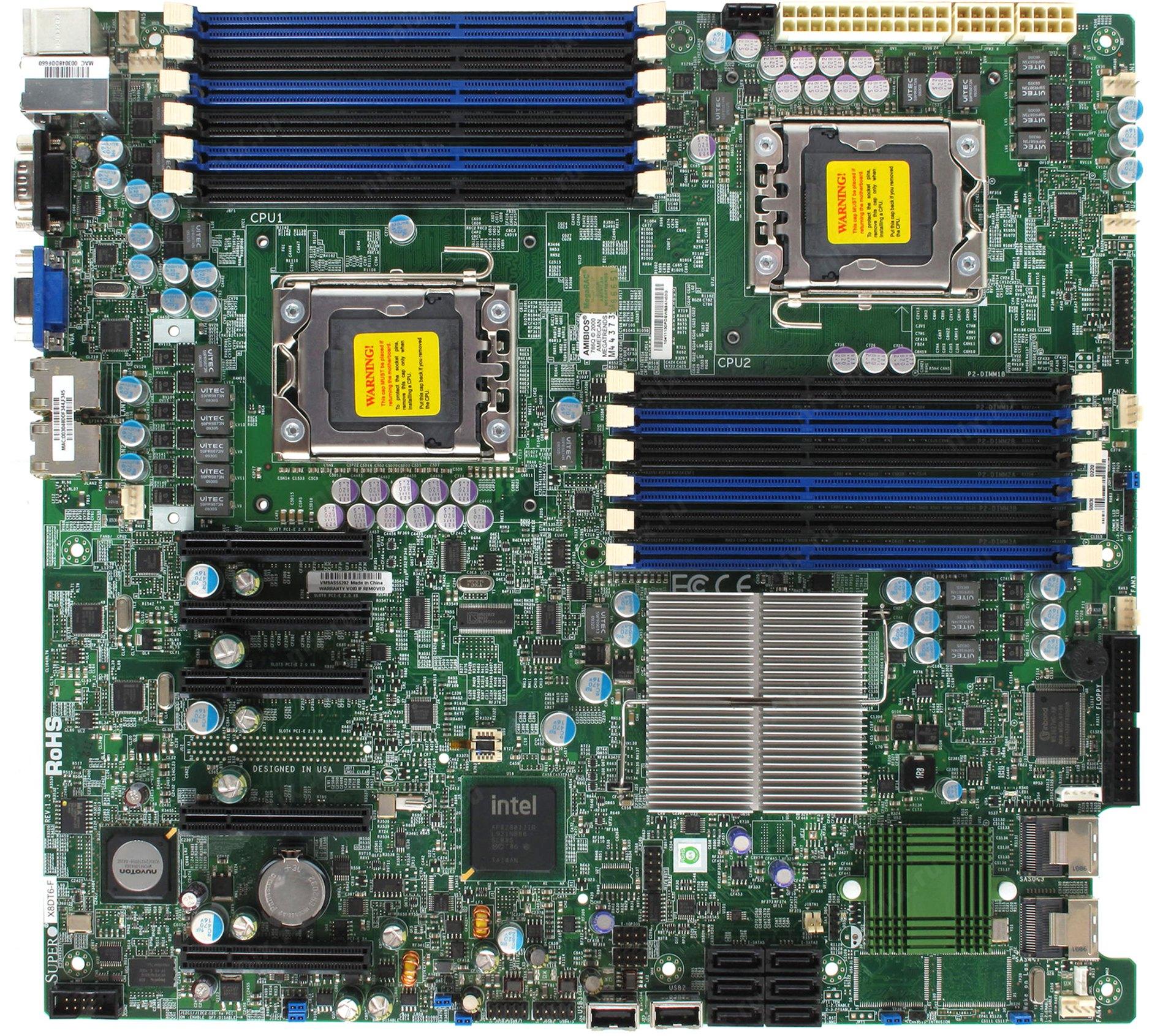 SUPER X8DT6-F Dual Sever Motherboard Intel 5520 LGA1366 VGA COM
