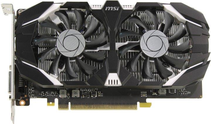 MSI GTX 1050 2GT OCV1, вид сверху