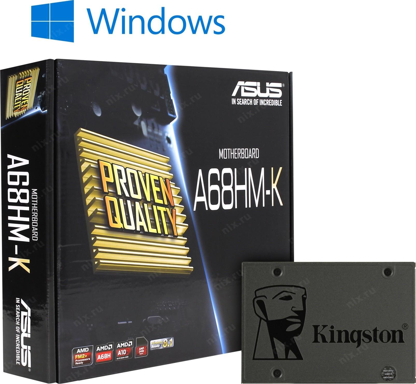 Asus A68hm K Kingston Sa400s37 120g Windows 10 Home Motherboard Socket Fm2 Sl