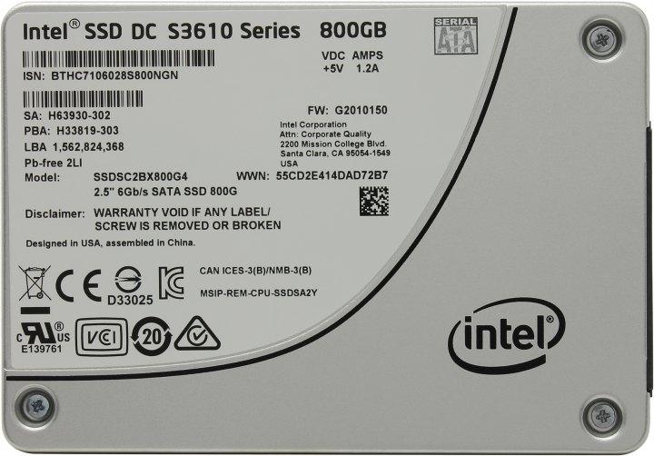 Intel DC S3610 Series SSDSC2BX800G401, вид сверху