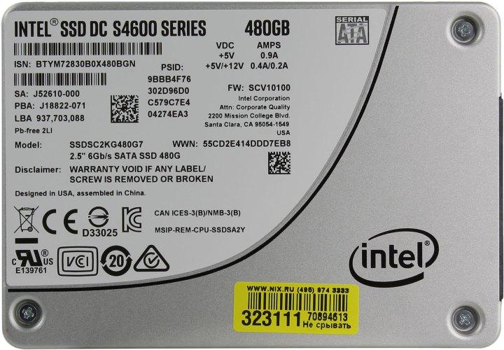 Intel DC S4600 Series SSDSC2KG480G701, вид сверху