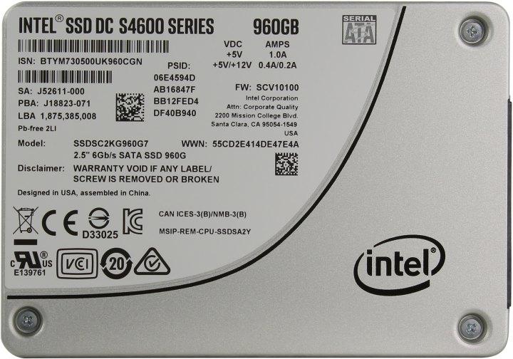 Intel DC S4600 Series SSDSC2KG960G701, вид сверху
