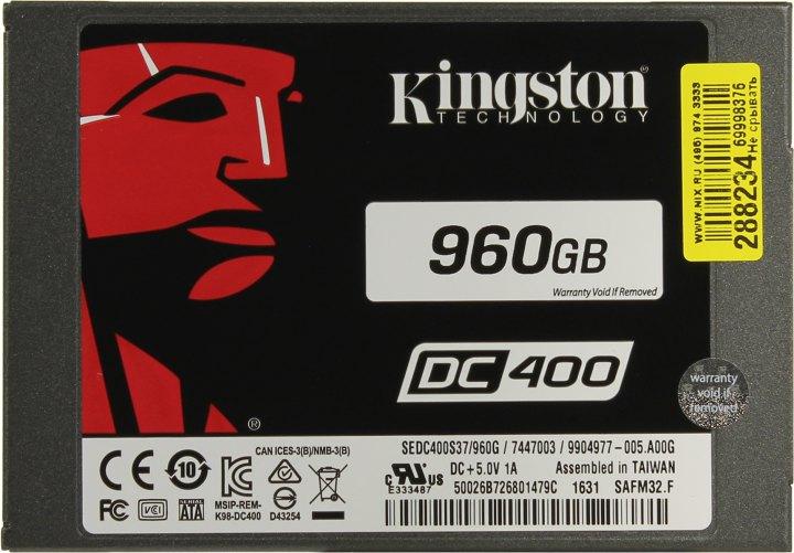 Kingston DC400 SEDC400S37/960G, вид сверху