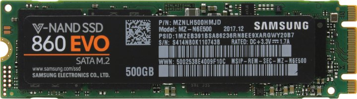 Samsung 860 EVO MZ-N6E500BW, вид сверху
