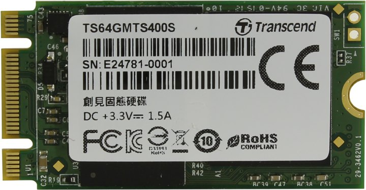 Transcend MTS400S TS64GMTS400S, вид сверху