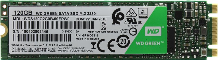 Western Digital Green WDS120G2G0B, вид сверху