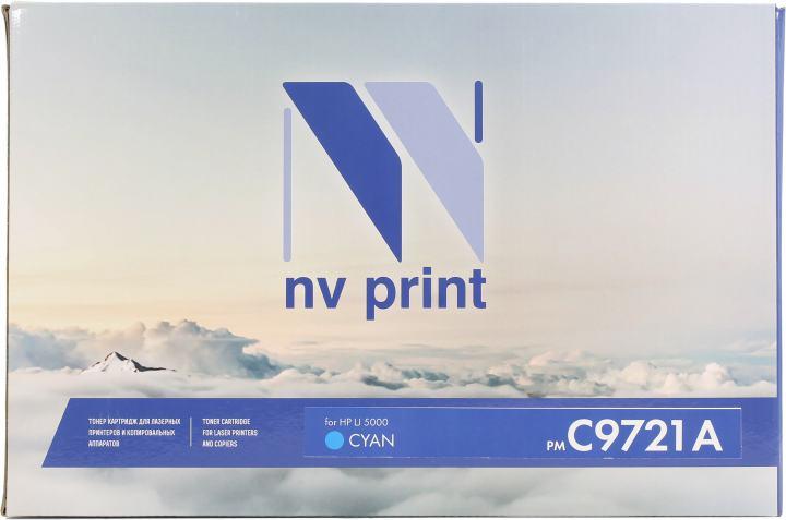 Картридж NV-Print аналог C9721A Cyan для HP LJ 5000, вид спереди
