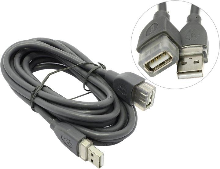 Кабель Hama  USB 2.0 A-A (m-f) удлинительный 3.0 м серый  H-30618