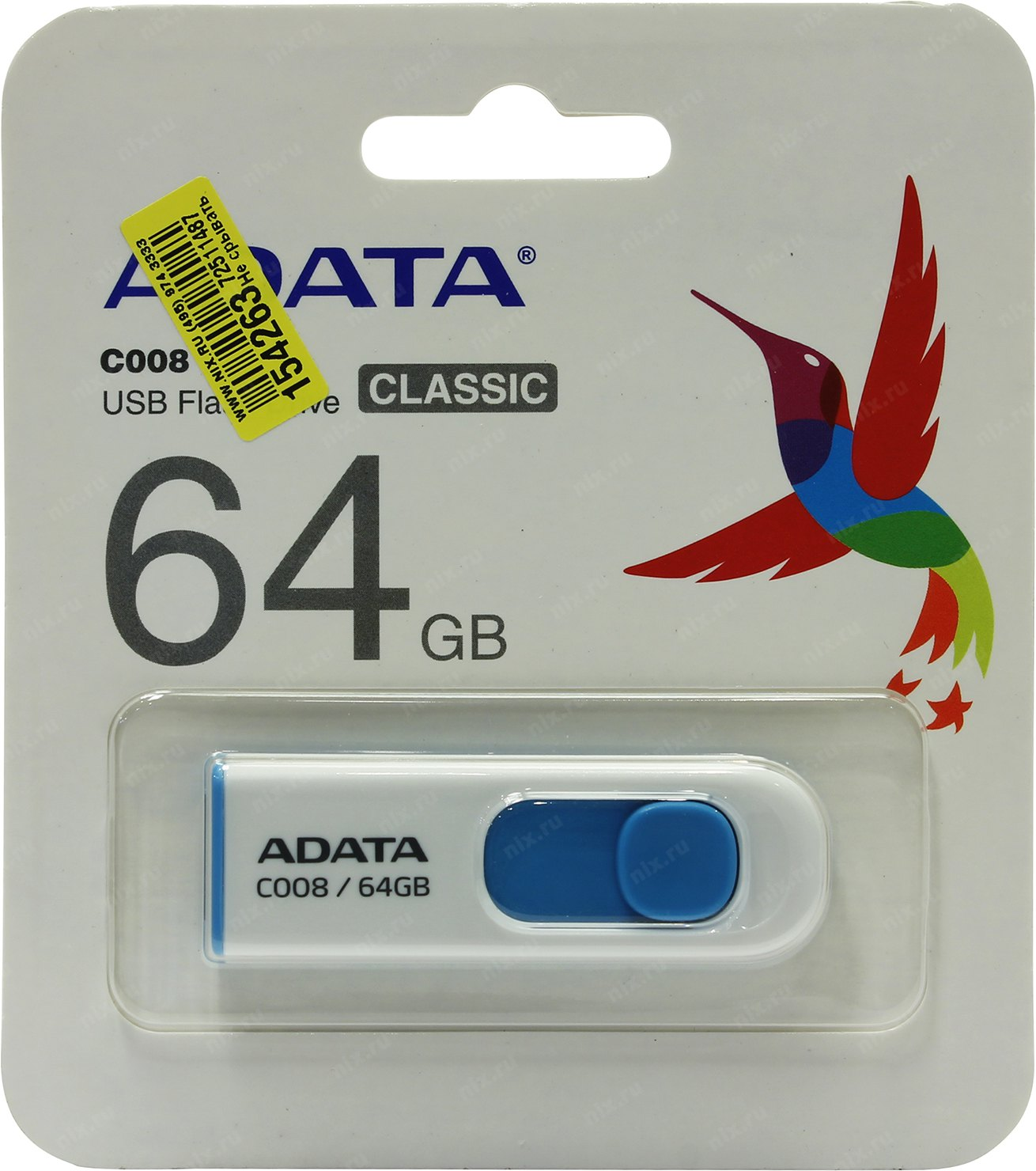 ADATA Classic Series C008 64GB USB 2.0 Flash Drive AC008-64G-RWE