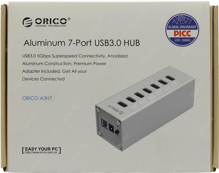 Концентратор USB Orico H4013-U3 (белый) USB 3.0 x 4 возможность подключения дополнительного питания