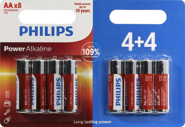 Батарейки AA PHILIPS Power Alkaline LR6P8BP / 10 8 шт.