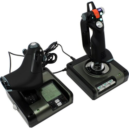 Манипулятор Джойстик Saitek PS34 X52 Pro Flight Control System (9кн., 2x 8 поз.перекл., throttle, USB2.0)